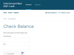 Coles Group & Myer gift card balance check