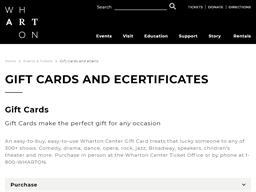 Wharton Center gift card purchase