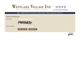 Westlake Village Inn gift card balance check