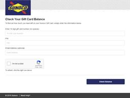 Sunoco gift card balance check