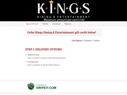 Kings Dining & Entertainment gift card balance check