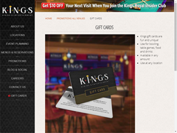Kings Dining & Entertainment gift card purchase