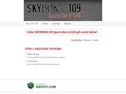 SKYBOKX 109 Sports Bar & Grill gift card purchase