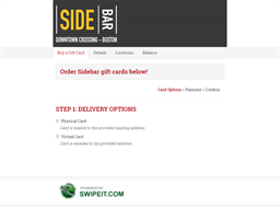 Sidebar gift card balance check