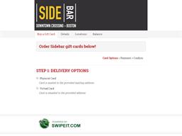 Sidebar gift card purchase