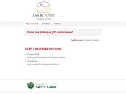 A & B Burger gift card balance check