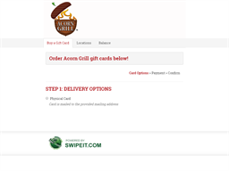 Acorn Grill gift card purchase