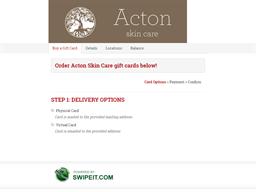 Acton Skin Care gift card balance check