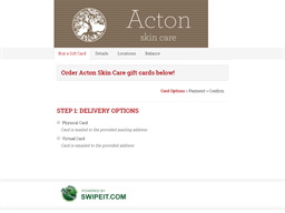 Acton Skin Care gift card purchase