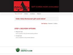 Adria Restaurant gift card balance check