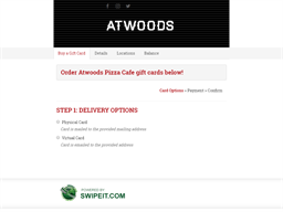 Atwoods Pizza Cafe gift card purchase