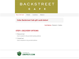 Backstreet Cafe gift card balance check