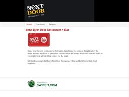 Ben's Next Door Restaurant + Bar gift card balance check