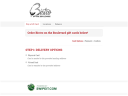 Bistro on the Boulevard gift card purchase