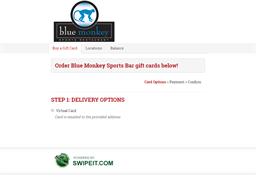 Blue Monkey Sports Bar gift card balance check