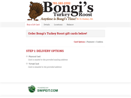 Bongi's Turkey Roost gift card purchase