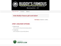 Buddy's Famous gift card balance check