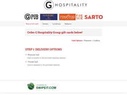 G Hospitality Group gift card balance check