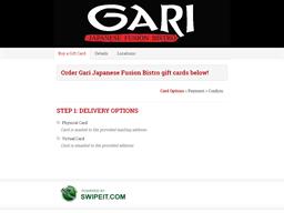 Gari Japanese Fusion Bistro gift card purchase