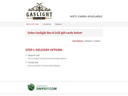 Gaslight Bar & Grill gift card purchase