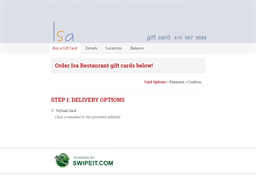 Isa Restaurant gift card purchase