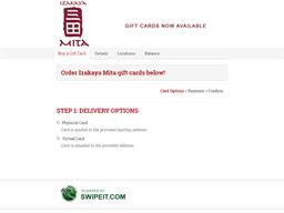 Izakaya Mita gift card balance check