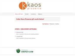 Kaos Pizzeria gift card balance check