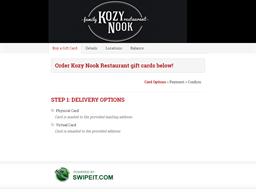 Kozy Nook Restaurant gift card balance check