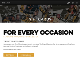Bar Louie gift card purchase