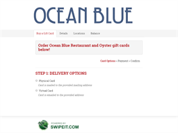 Ocean Blue Restaurant and Oyster gift card purchase