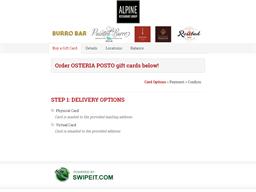 OSTERIA POSTO gift card purchase
