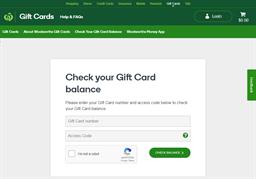Big W gift card balance check