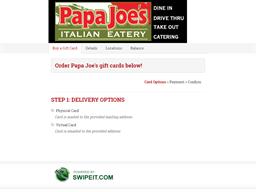 Papa Joe's gift card balance check
