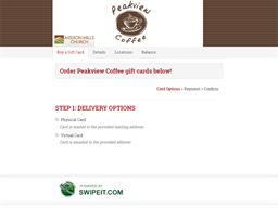 Peakview Coffee gift card balance check