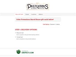 Pretentious Barrel House gift card balance check