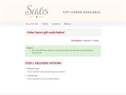 Sava's gift card balance check