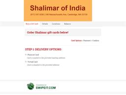Shalimar gift card purchase