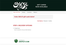 SHOJO gift card balance check
