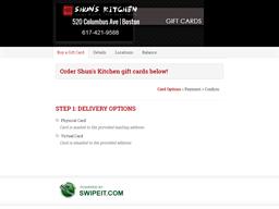 Shun's Kitchen gift card balance check