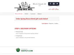 Spring House Hotel gift card balance check