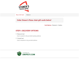 Stoner's Pizza Joint gift card purchase