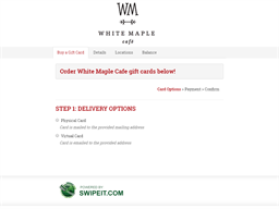 White Maple Cafe gift card purchase