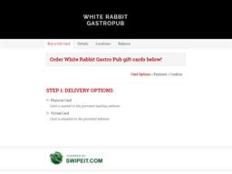White Rabbit Gastro Pub gift card balance check