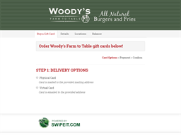 Woody's Farm to Table gift card balance check