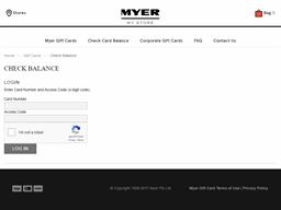 Myer gift card balance check