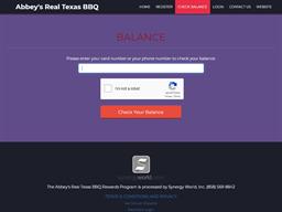 Abbey's Real Texas BBQ Reward gift card balance check