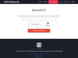 BiCE Ristorante gift card balance check