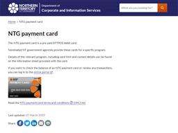 Northern Territory Government Payment Card gift card purchase