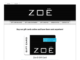 Zoe gift card purchase