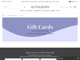 Autograph gift card balance check